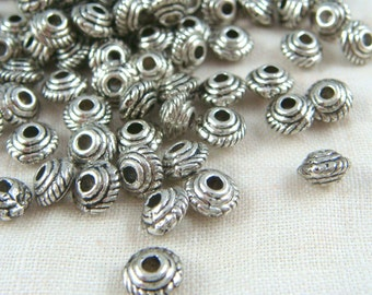 Spacer Bead - Silver Saucer Spacer Bead (0167YAS) - 5mmx3mm - Antiqued Silver - Qty. 50