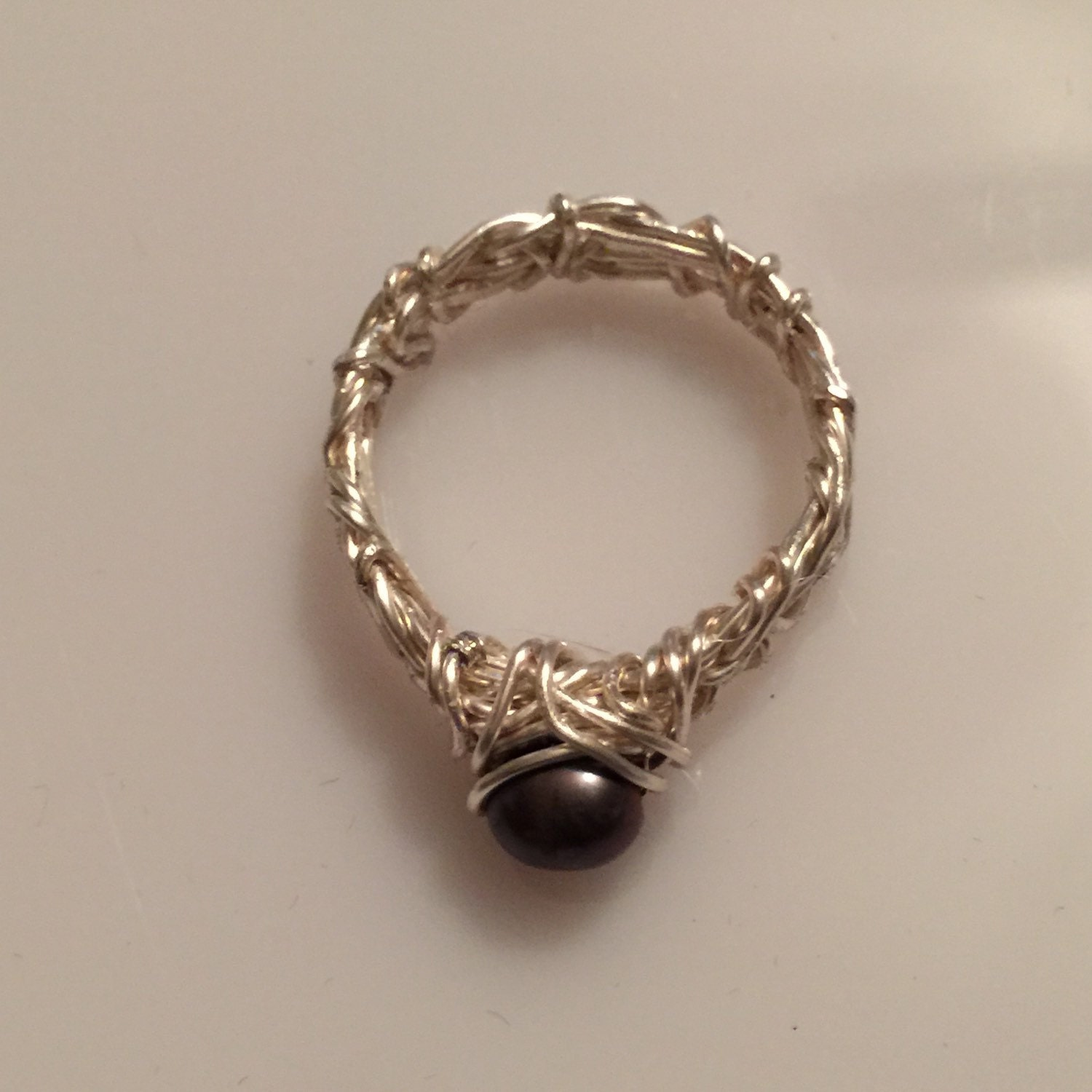 Pearl Wedding Ring: Black Pearl Engagement Ring Filigree Ring Celtic Ring