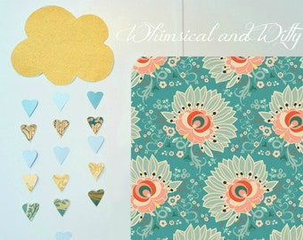 Crib Sheet OR Changing Pad Cover - Teal, Aqua, Pink Floral Print