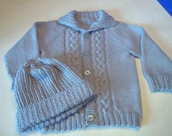 Boy's Sweater/Hat Set  Baby Alpaca Hand Knit  Blue 12-18mos