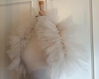 Théâtre de Paris Tulle Ivory Bridal Wedding Wrap stole Ruff. As seen in Brides Magazine