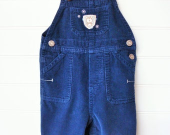 Vintage Baby Clothes/Baby Boy Overalls, Navy Corduroy Overalls With Puppy Patch, Carters Size 6 Months. #