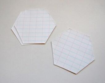 Vintage Hexagon Die Cuts from White Grid Paper, Set of 10, Scrapbook, Paper Craft, Junk Journal