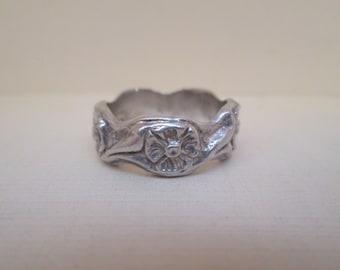 Art Nouveau Style Floral Sterling Silver Band