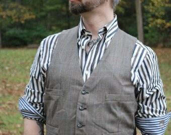 Grey w/ Blue Windowwpane Waistcoat