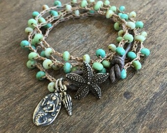 """Crochet Knotted Starfish & Mermaid Multi Wrap Bracelet """"Beach Chic"""" Boho Jewelry by Two Silver Sisters"""