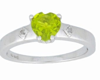 1 Ct Peridot & Diamond Heart Ring .925 Sterling Silver Rhodium Finish