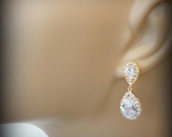 Gold Bridal Earrings, Wedding Jewelry for Brides, Swarovski Crystal Wedding Earrings, Bridal Jewelry Crystal Drop Bridal Earrings Crystal