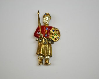 1940s Vintage Brooch by Estabell Silver Enamel and Pearl Warrior