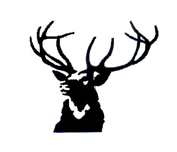 Deer Antlers Silhouette Stag Head Embroidery Design in 3 ...