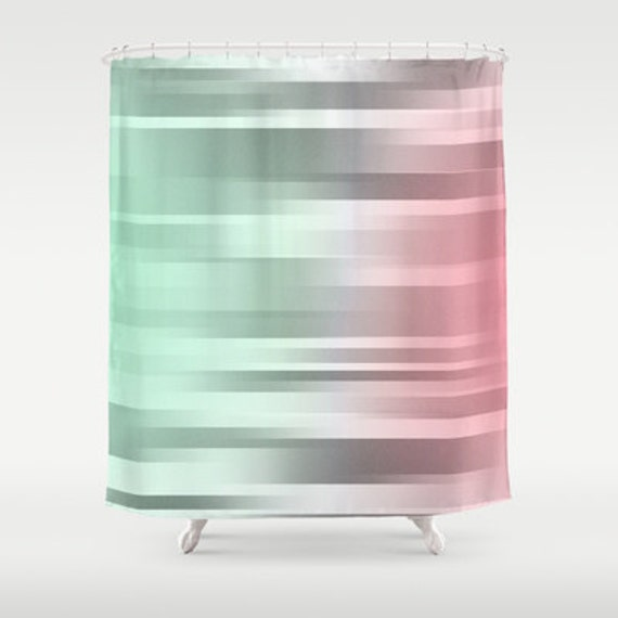 Mint gray coral shower curtain green grey pink bathroom for Pink grey bathroom accessories