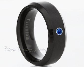 Black Titanium Wedding Band Black Titanium Wedding Ring Blue Sapphire Engagement Band Anniversary Ring Comfort Fit Brushed Polish His Hers