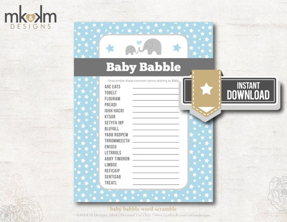 Baby Babble Word Scramble Oh Baby Elephant Baby By