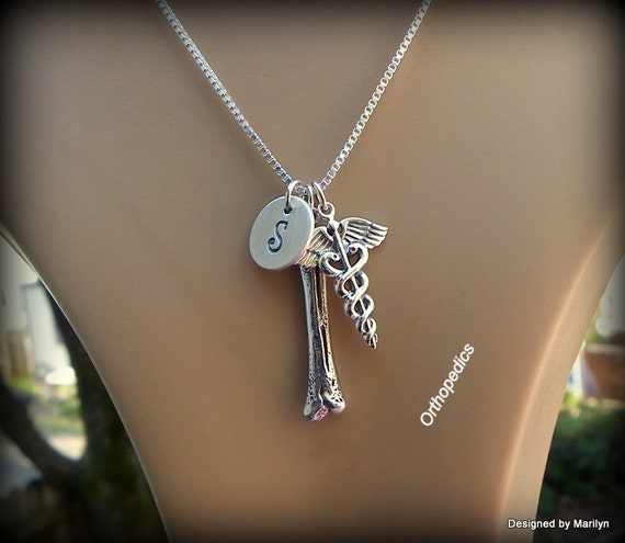 Sterling silver Orthopedic staff jewelry, Caduceus, medical staff, personalized jewelry, orthopedic student