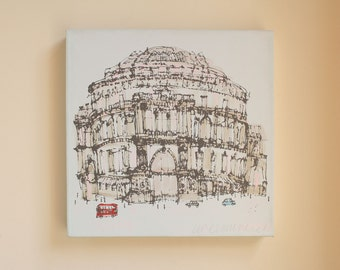 LONDON PAINTING, Royal Albert Hall London Red Bus Original Hand Painted Acrylic on Canvas, Screen Print Drawing London Wall Art Architecture