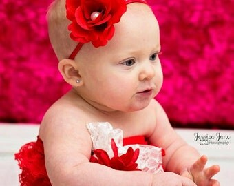 MADE to order Red rose bloom headband with pearl center Valentines day baby girls kids halo floral