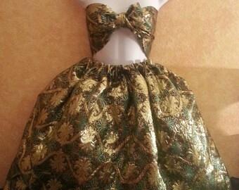 Vestido verde Chartreuse metálico Oro brocado negro 2Pc Bandeau Bralette té falda vestido danza nupcial partido del vestido de traje de novia
