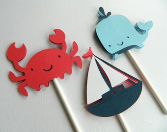 12 Nautical Cupcake Toppers Whale Cupcake Toppers Anchor Cupcake Toppers Nautical Baby Shower Nautical First Birthday • Set of 12