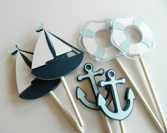 Blue Nautical Cupcake Toppers (3 Designs) Nautical Baby Shower Nautical Decorations Nautical Birthday Party • Set of 24