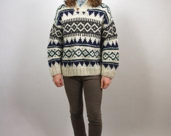 Cable Knit Wool Sweater Medium Hemingway Pattern White Gray Green Blue