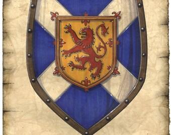 "Scotland Crest Artwork 11"" x 14"", Scottish Flag, Scotland Art Prints, Scotland, William Wallace, Braveheart, Midieval Art, Scottish Lion"