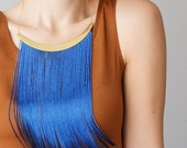 Fringe Necklace Statement Necklace Blue Necklace Gold Fringe Jewelry Christmas Gift For Her / CHEORA
