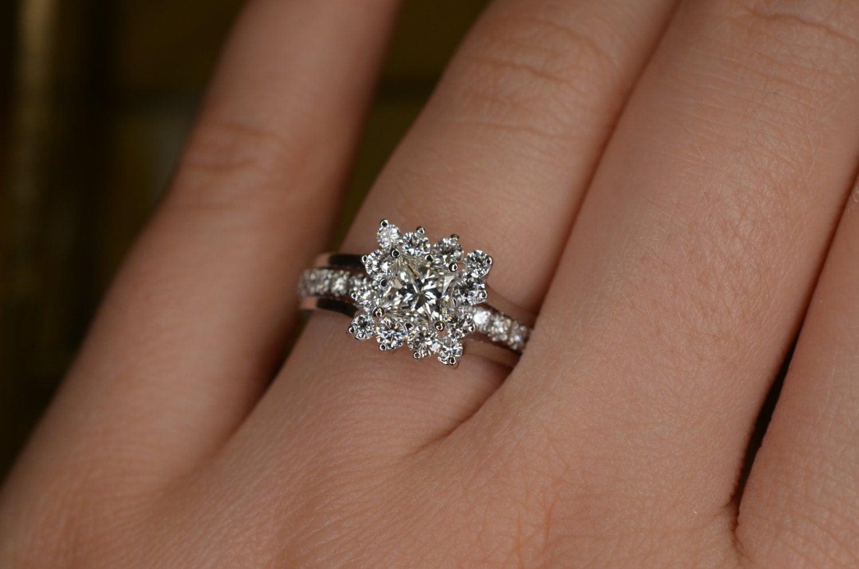 Art Deco Inspired Insert Style Princess Cut Diamond Wedding Ring And Eternity Band Set