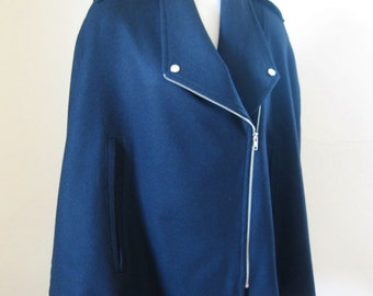Women Cape Coat Winter Wool Coat Black Poncho Biker Style Coat Zipped Collar Short Women Cloak Jacket - The Wizard -