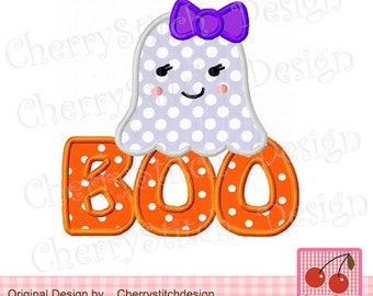 Halloween Cute Girl Ghost with BOO-Halloween Cute Girl Ghost- for 4x4 5x7 6x10 hoop Machine Embroidery Applique Design