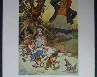 1920s Vintage Fairy Tale Print of Pixies by CEB Bernard Children's nursery decor, artwork of fairy folk at the Twisted Tree - Enchanted Wood