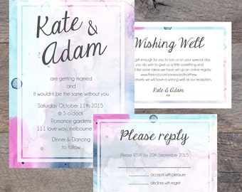 Wedding Invitation Pack, DIY Printable, RSVP Card, Wishing Well Card, Engagement, Print at Home, Invite, Watercolor, Colorful, Fun, Unique