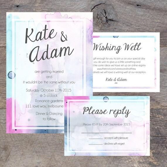 Wedding Invitation Pack DIY Printable RSVP Card Wishing