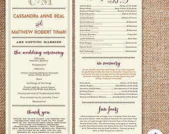 Rustic Barn Wedding Program (Digital File)
