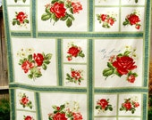 Retro Tablecloth Floral Roses Red Green Blue White, Cotton Small Tablecloth Handmade