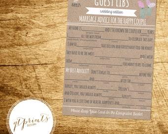 Wedding Mad Libs Printable Rustic