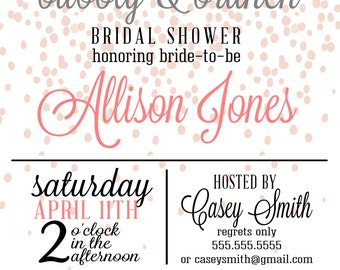 Brunch&Bubbly bridal shower invitation (digital file)