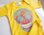India Mendhi Skull Tattoo Romper Yellow Red Bodysuit Trendy baby clothes.  Hippie Batik look 3, 6 9 months new baby shower gift.