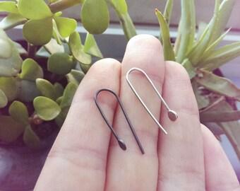 Silver Dot Earrings | Silver Dangle earrings | Silver bar earrings | Simple silver earrings | hammered earrings | Silver drop earrings