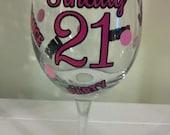 21st Birthday Wine Glass,  Finally Legal