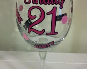 Finally 21, Birthday Gift, 19 ounce Wine Glass, Perfect gift for that first Legal Night Out