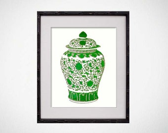 Green Ginger Jar Print, Chinoiserie Art, Asian Pottery Art Print, Palm Beach Chic Decor, Vase Print, Chinese Pottery Print, Asian Vase Print
