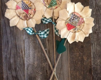 Primitive Flower Stems with Centers made from Cutter Quilt