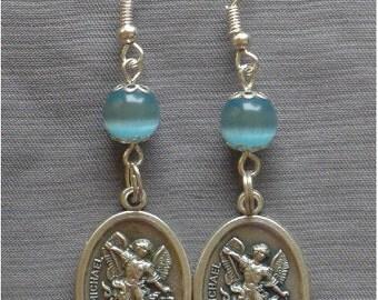 St Michael - 8mm Blue Cats Eye Gemstone Earrings