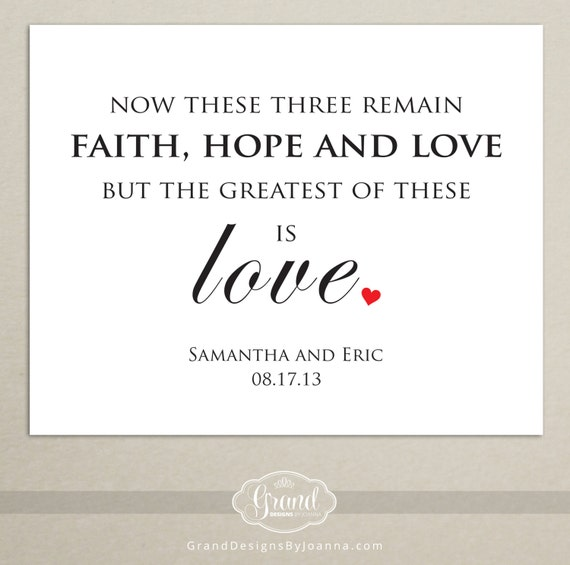 Greatest of These is Love - Printable Wedding Sign