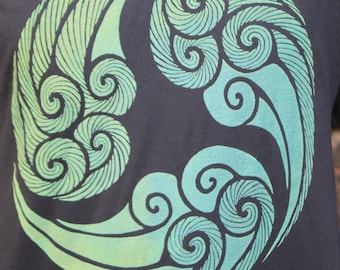 Tri Wave Shirt - aqua blend Eco-Friendly Ink on soft shirts. Mind, body and soul. Wave pattern t-shirt.