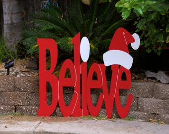"Believe"" Holiday Sign Large size"