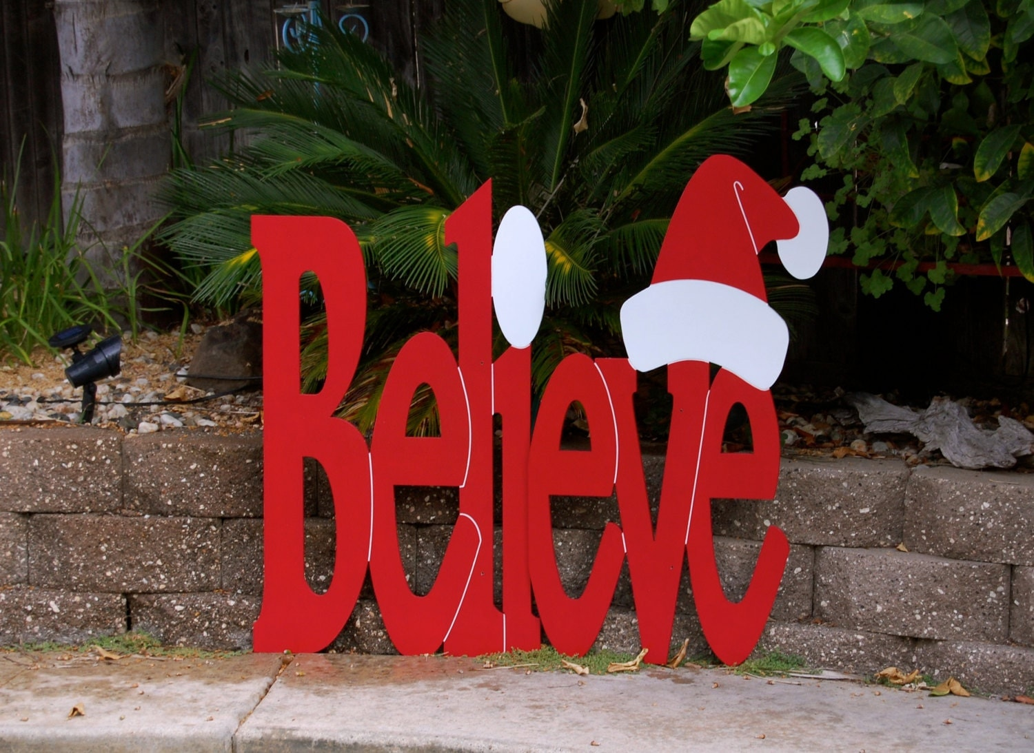 Items similar to large outdoor believe sign for christmas for Large outdoor christmas signs