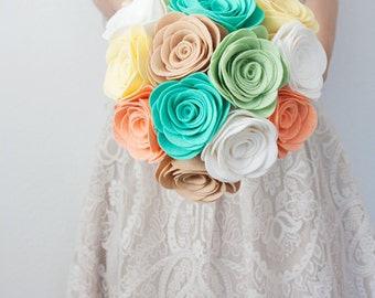 Mint Pastel Felt Rose Bouquet - by Sugar Snap