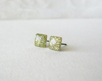 Gold Glitter square posts- Delicate shiny stud earrings- Geometric Jewelry- everyday wear earrings