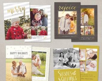 Digital Photoshop Christmas Card Template for photographers Set of 4 PSD Flat card Modern Gold CS008